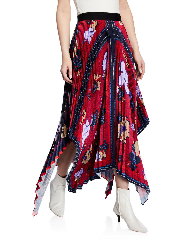 bec53b9fc Yigal AzrouËL Pleated Handkerchief Midi Skirt, Blue   ModeSens