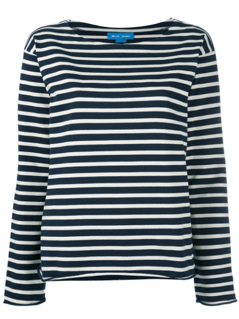 M.i.h Jeans Mariniere Striped Cotton-jersey Top In Navy/cream