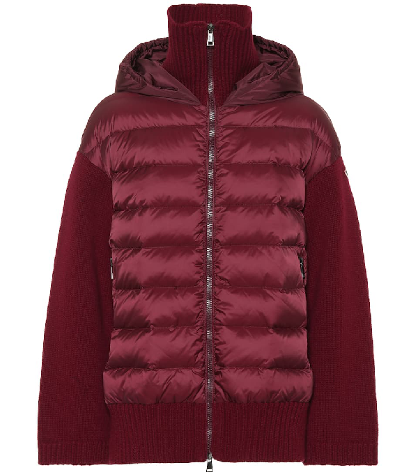 Moncler Hooded Quilt Panel Cardigan In Red