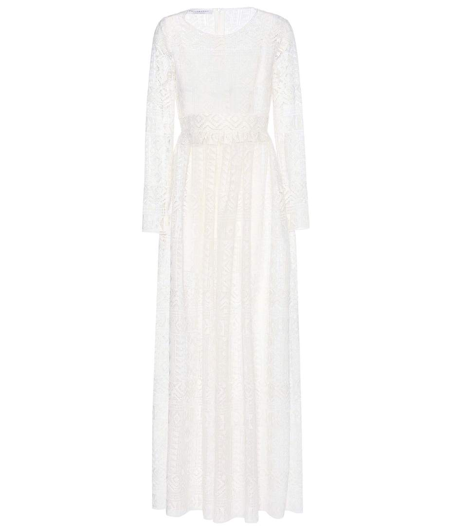 Philosophy Di Lorenzo Serafini Sleeved Long Dress In Ivory