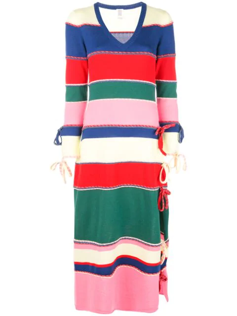 Rosie Assoulin Striped Wool Knitted Midi Dress In Pink