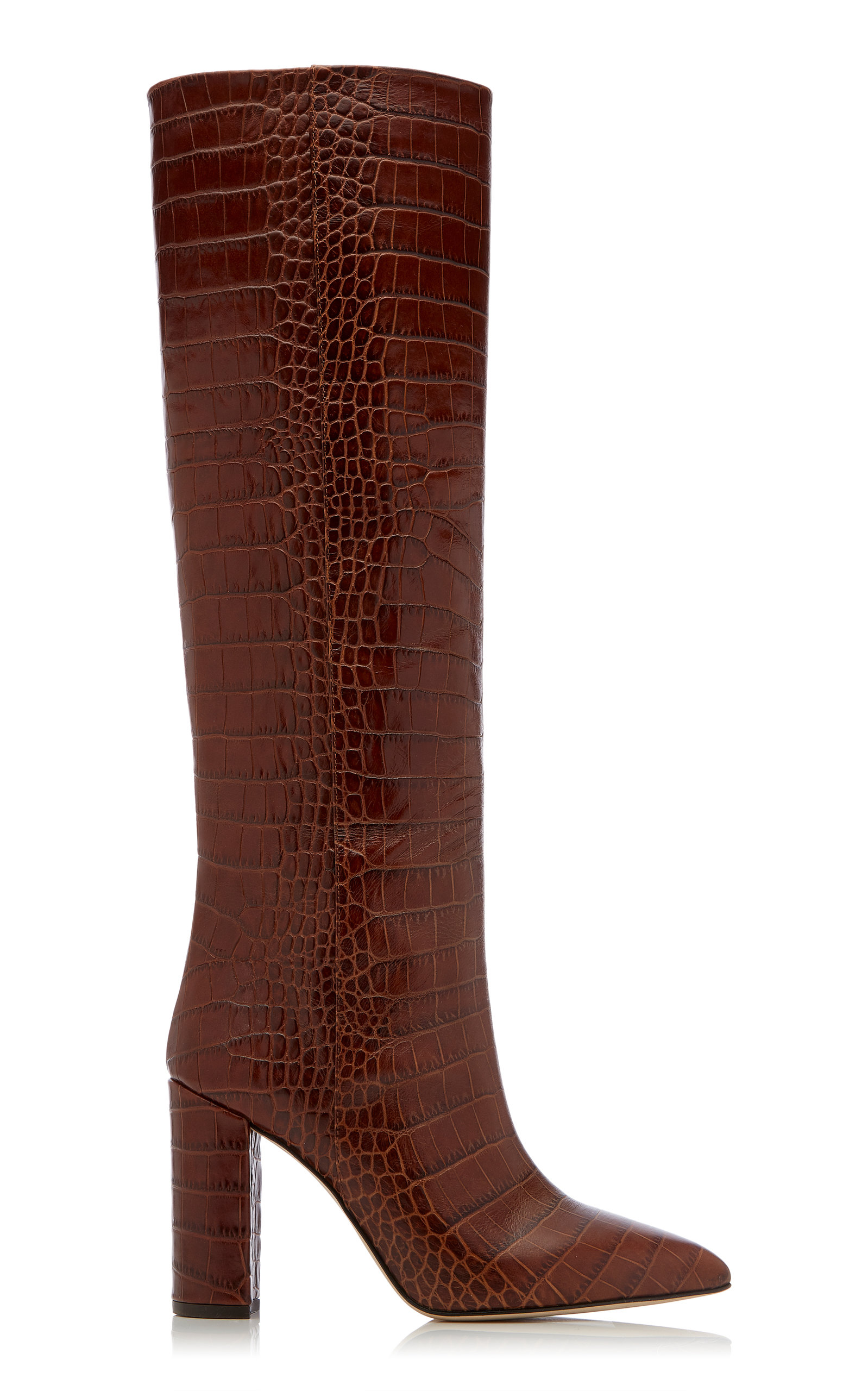 02a39f90edf Croc-Embossed Leather Knee Boots in Brown