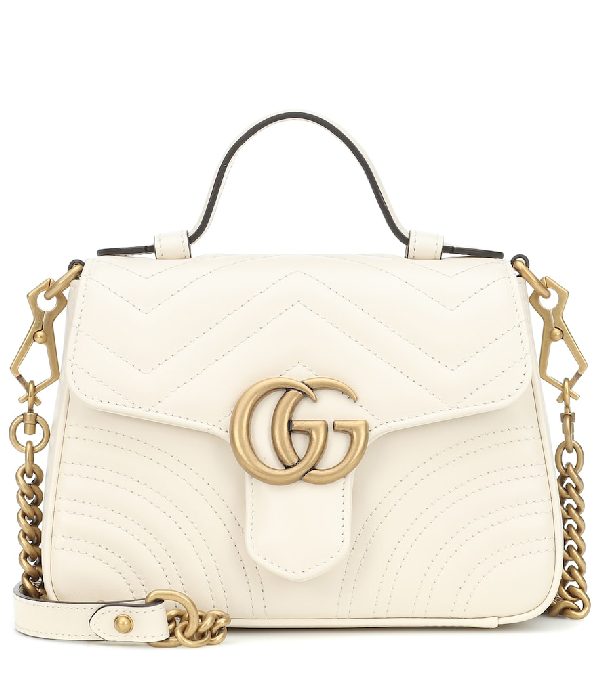 Gucci Gg Marmont Mini Quilted Leather Shoulder Bag In White