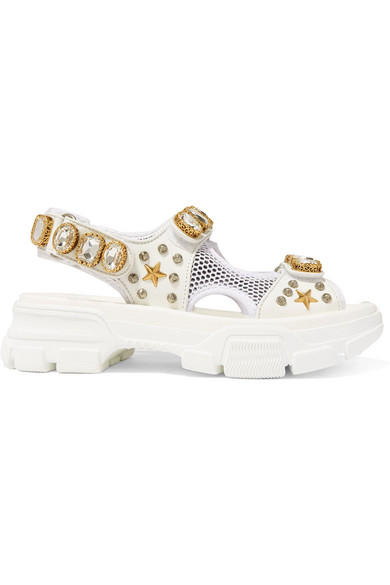 Gucci Metallic And Mesh Embellished Sandals W/ Crystals In White