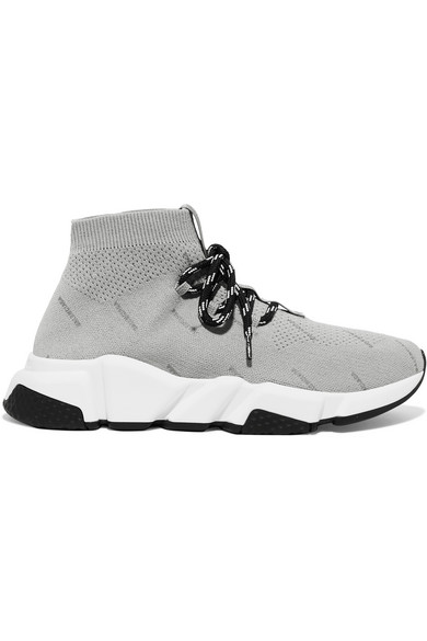 Balenciaga Speed Logo-Print Stretch-Knit High-Top Sneakers In Gray