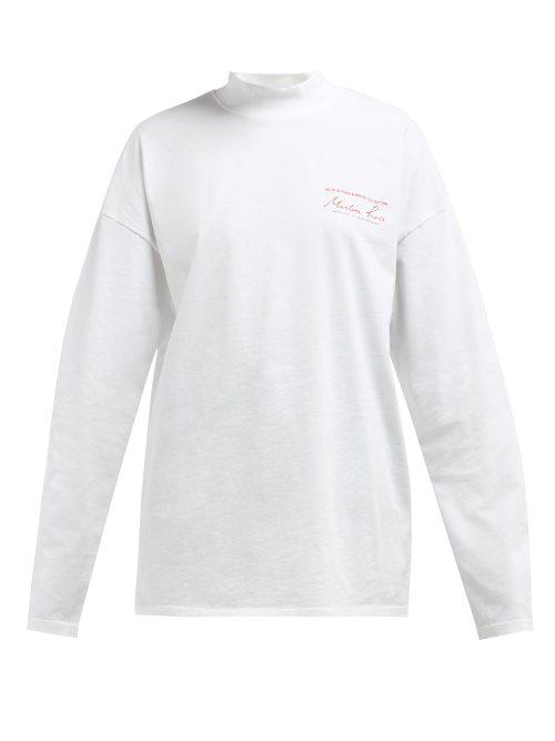 33ede658 Martine Rose - Logo Print Long Sleeved Cotton T Shirt - Womens - White