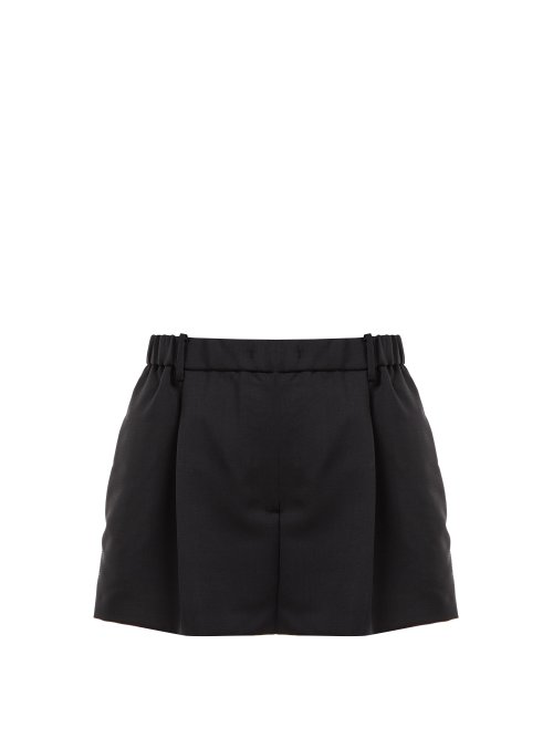 N°21 Crystal-Embellished Tailored Mohair-Blend Shorts In Black