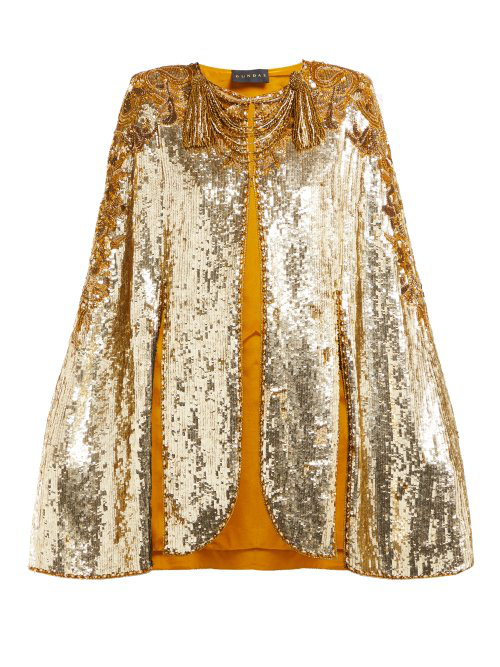 Dundas Embroidered Sequinned Sleeveless Cape In Gold