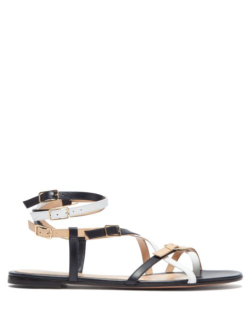 Gianvito Rossi Cross-Strap Leather Sandals In White Multi