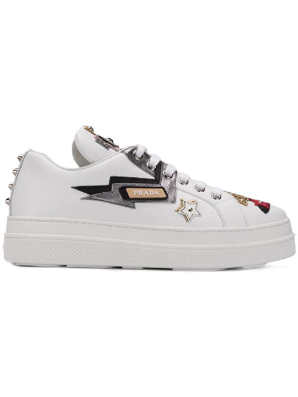 38f480839332b7 Prada AppliquÉD Leather Platform Sneakers In White | ModeSens