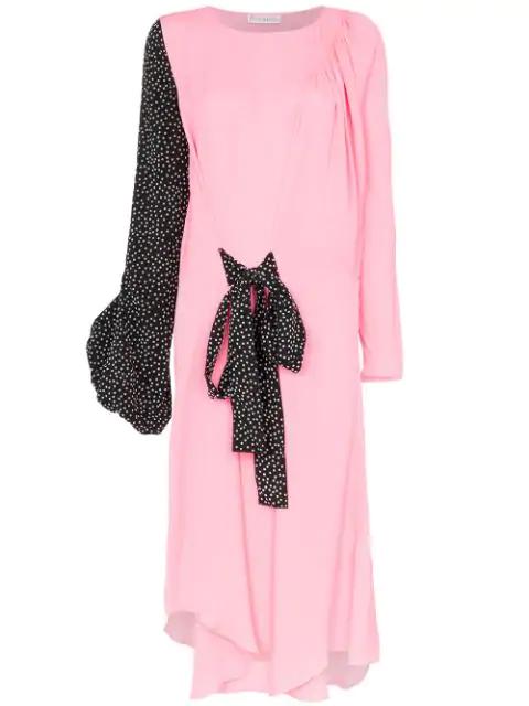 Jw Anderson Polka Dot Print Balloon Sleeve Silk Dress In 347 Malibu Pink