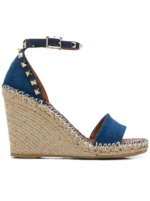 Valentino Denim Rockstud Double Wedge Sandal 95Mm In 849
