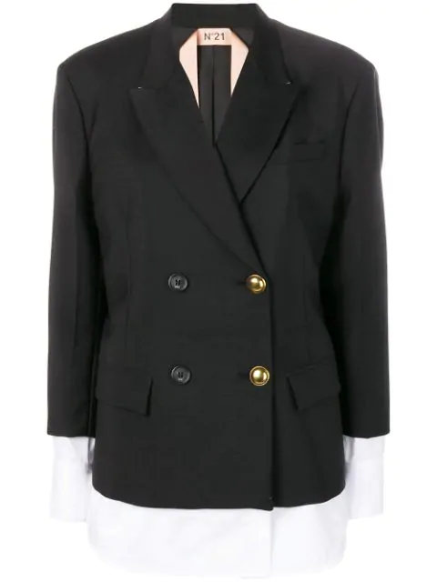 N°21 Double Breasted Layered Jacket In Black