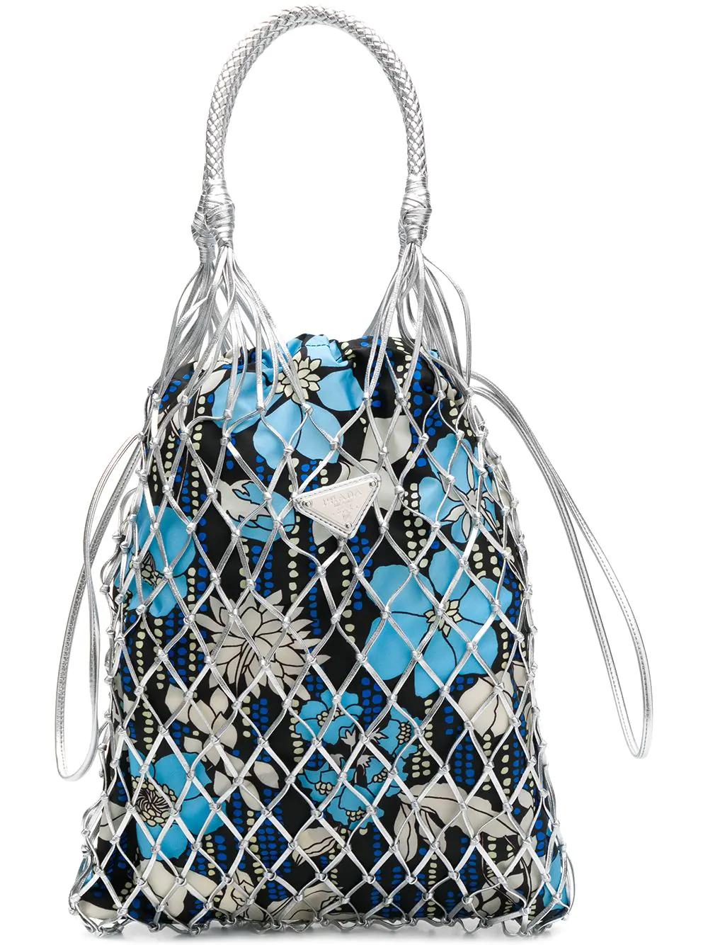 bc2bf7d8cfaa Prada Fishnet Floral-Print Bucket Bag - Blue | ModeSens