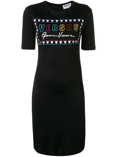 Versus Printed Slim Fit T-shirt Dress In Black