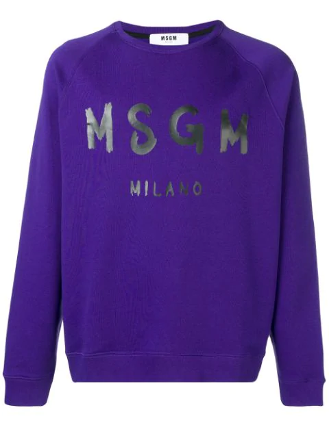 Msgm Logo Print Sweatshirt In Purple
