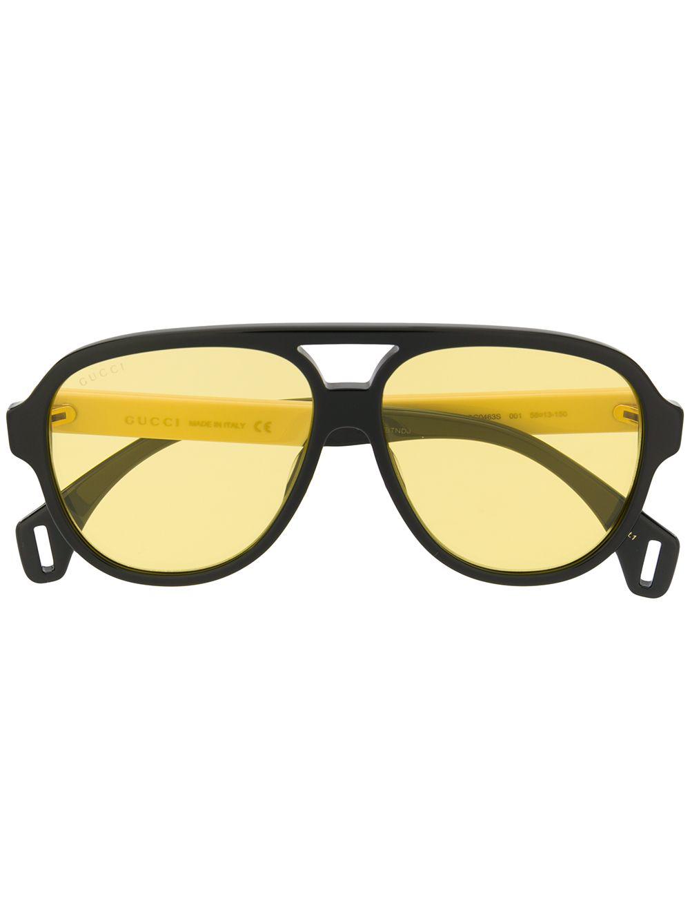 23137545495 Gucci Eyewear Logo Aviator Sunglasses - Black. Farfetch