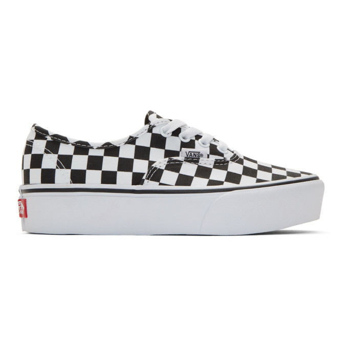 a62eab9e05 Vans Black And White Checkerboard Ua Authentic Platform 2.0 Sneakers In  Check Blk W