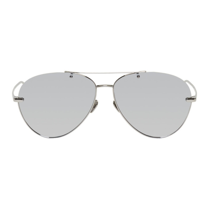 Linda Farrow Luxe White Gold 852 C2 Aviator Sunglasses In Whtgldplat