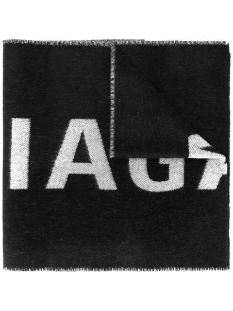 Balenciaga 'Everyday' Logo Jacquard Wool Scarf In Black