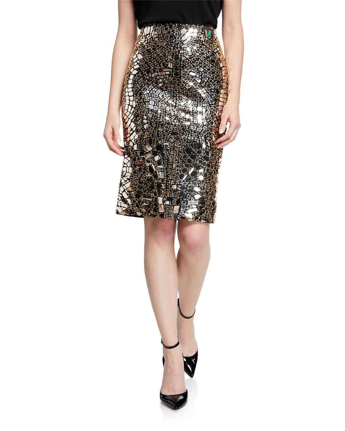 Tom Ford Embroidered Plexi Glass Skirt In Gold