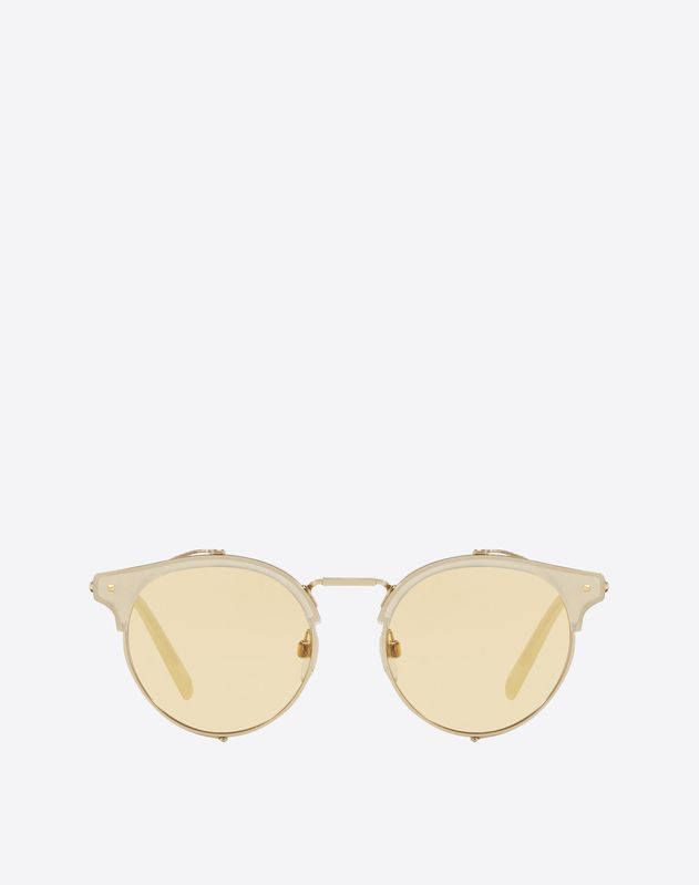 Valentino Occhiali Half-rim Round Metal And Acetate Sunglasses With Mirrored Lens In Gold