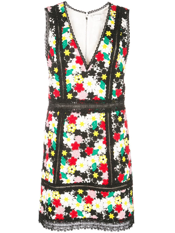 43b1508201e2 ALICE AND OLIVIA. Zula Floral-Embroidered V-Neck Sleeveless Party Dress ...