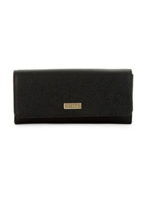 Furla Ritzy Pebbled Leather Foldover Long Wallet In Onyx