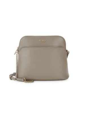 Furla Miky Crossbody Leather Pouch In Sabbia Beige
