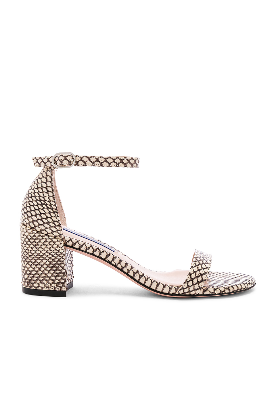Stuart Weitzman Simple Sandal In Tan. In Bambina Outlined Snake