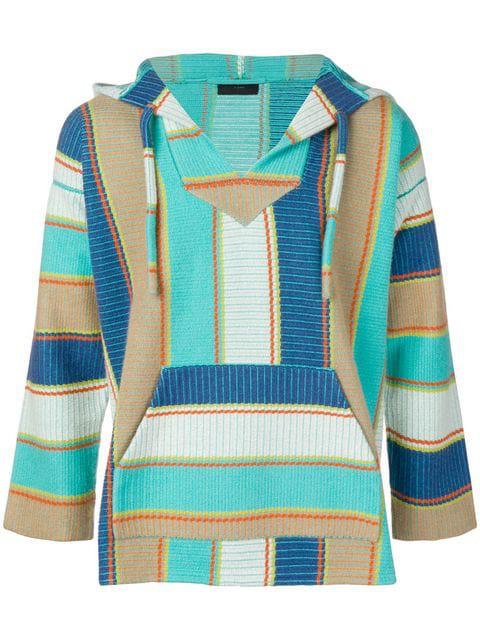 Alanui Striped Cotton-Cashmere Hoodie Sweatshirt In Multi