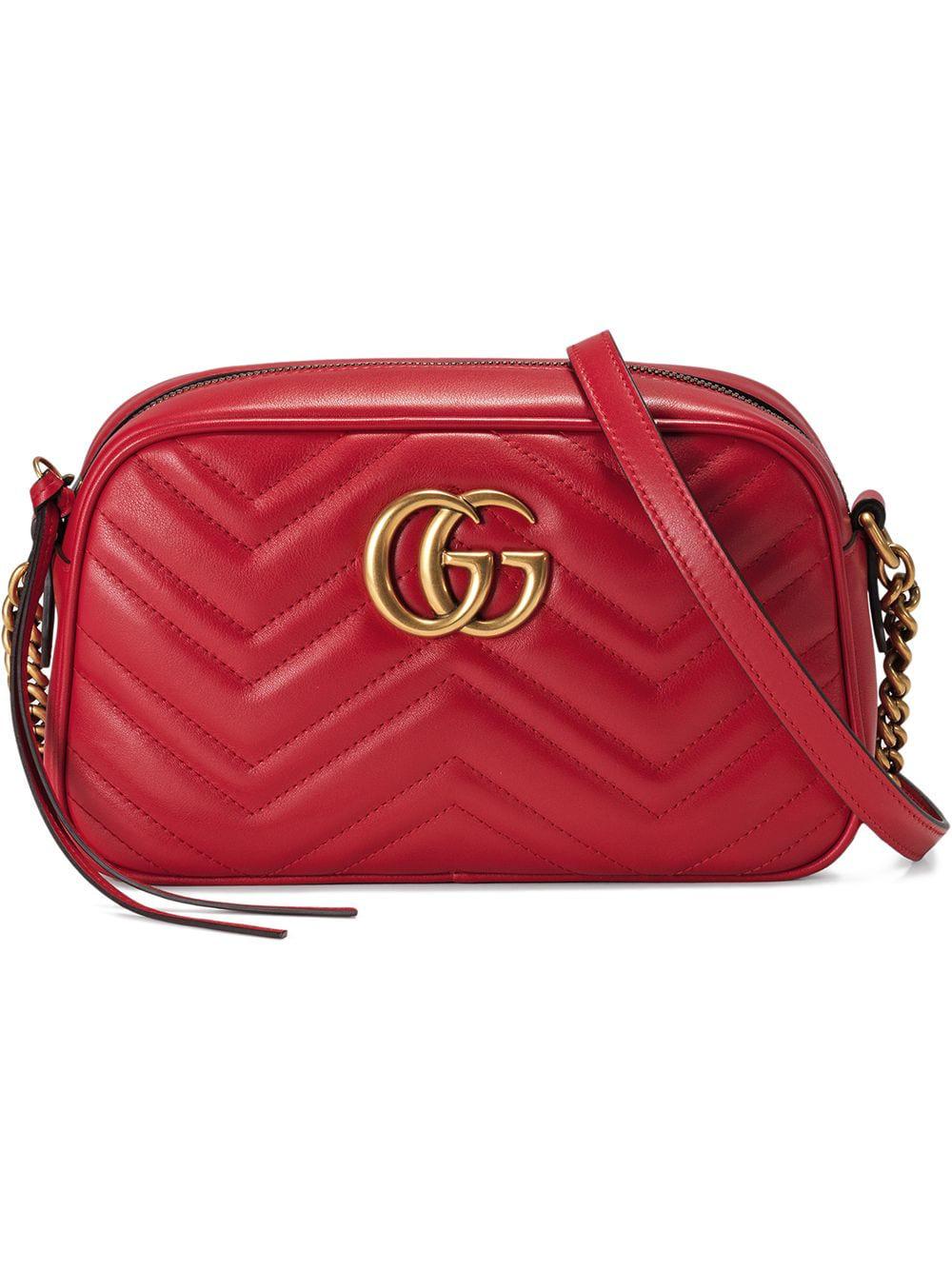 04d92c66016 Gucci  Gg Marmont  Schultertasche Aus Matelassé-Leder - Rot In Red ...