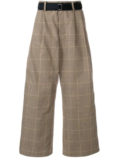 Sacai Wide Leg Check Trousers In Brown