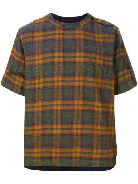 Sacai Plaid T-shirt In Brown