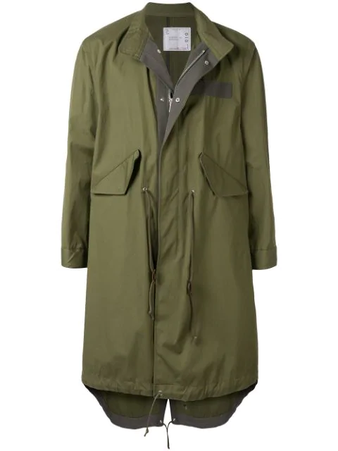 Sacai Drawstring Waist Trench Coat In Green