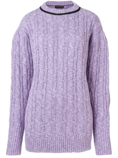Cashmere In Love Cable Knit Sweater In Purple