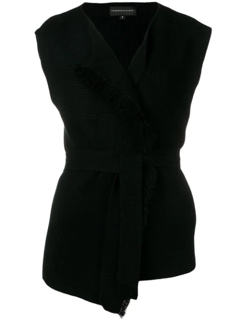 Cashmere In Love Sleeveless Knitted Top In Black