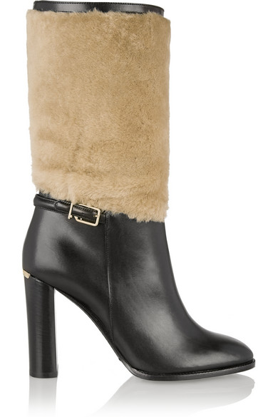 Burberry Woman London Shearling-Paneled Leather Boots Black
