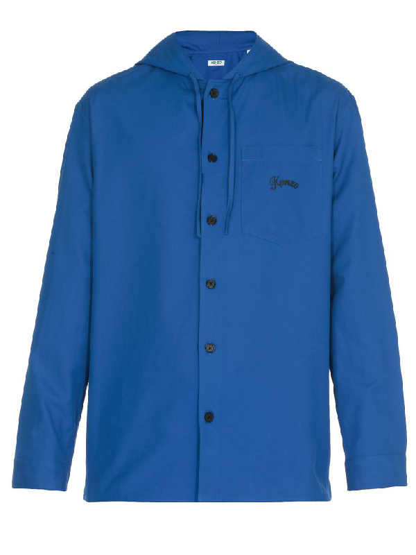 Kenzo Cotton Shirt In French Blue