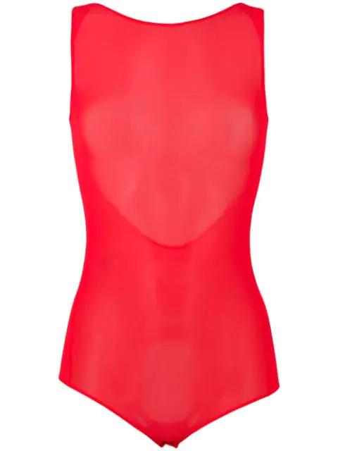 Maison Margiela Sleeveless Mesh Scoop Back Bodysuit In Pink