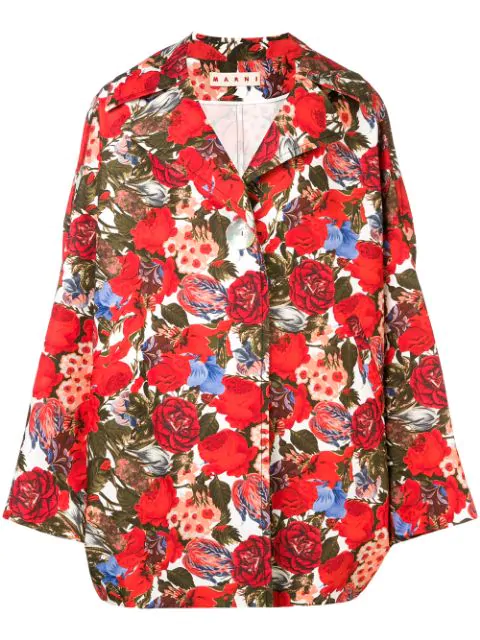 Marni Oversized Rose Print Coat In Red
