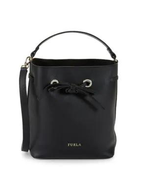 Furla Costanza Drawstring Top Leather Handbag In Onyx