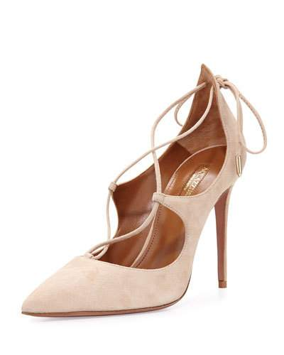 Aquazzura Christy Studded Lace-Up Pump, Nude In Black Sued