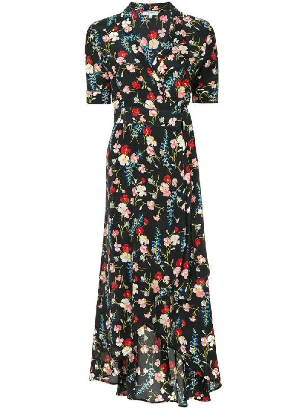 Equipment Imogene Floral-Print Washed-Silk Wrap Dress In Black