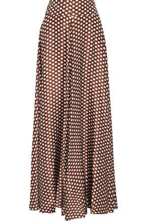 Diane Von Furstenberg Woman Polka-Dot Silk-Satin Maxi Skirt Brown