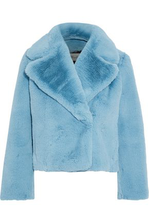 Diane Von Furstenberg Faux Fur Coat In Sky Blue