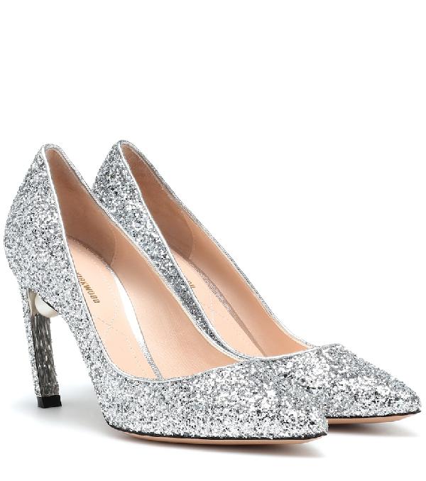 Nicholas Kirkwood Silver Mira 90 Glitter Pearl Heel Pumps In Metallic
