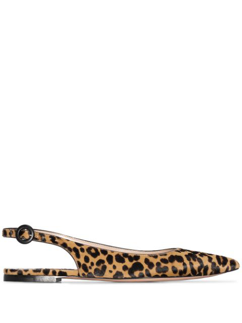 Gianvito Rossi Leopard-print Calf Hair Slingback Point-toe Flats In Black
