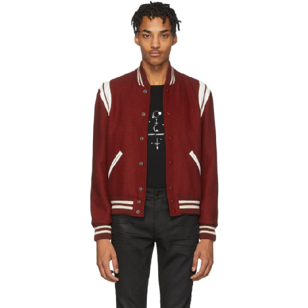 Saint Laurent Leather-trimmed Virgin Wool-blend Bomber Jacket In 6220 Carmin