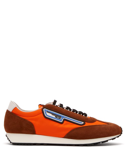 Prada Milano 70 Rubber And Leather-Trimmed Nylon Sneakers In Brown